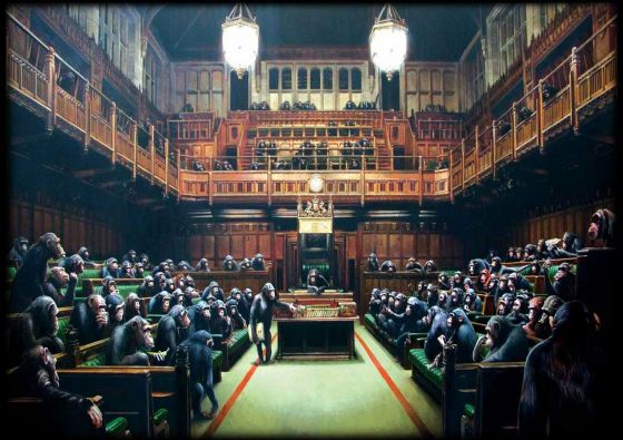 Banksy: Monkeys in Parliament. Fine Art Print/Poster. Sizes: A4/A3/A2/A1 (001304)